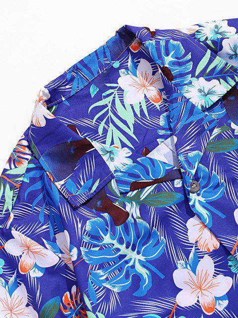 ladies Flower Leaf Tropical Print Pocket Vacation Shirt - MULTI-A L Mobile