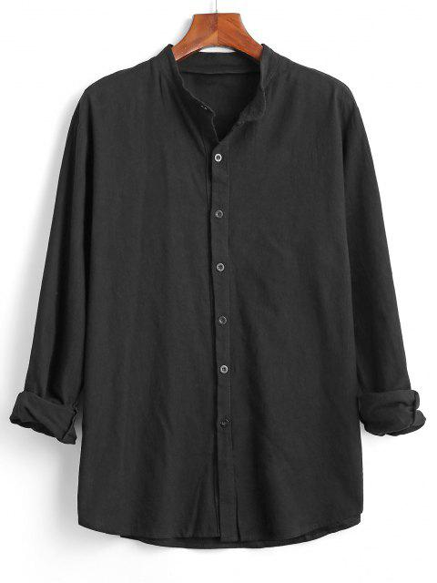 lady Button Down Plain Kurta Shirt - BLACK 3XL Mobile