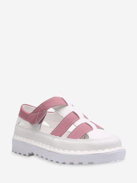 Kaktus Schleife Zweifärbiges Aushöhlendes Flache Schuhe - Hell-Pink EU 38 Mobile