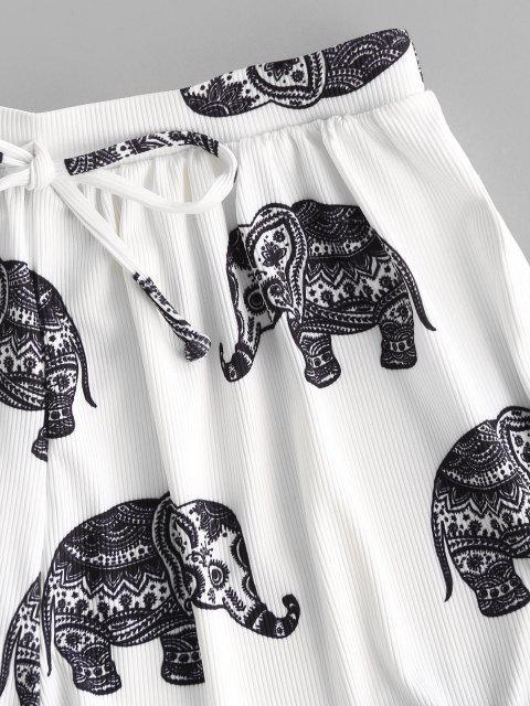 ZAFUL Bikiniunterteil mit Geripptem Elephantdruck - Weiß M Mobile