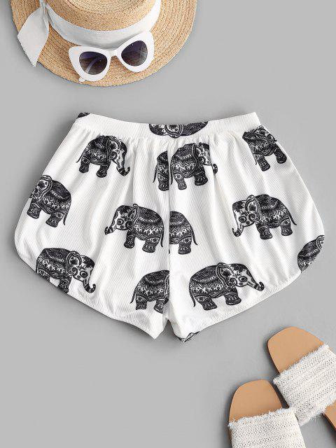ZAFUL Bikiniunterteil mit Geripptem Elephantdruck - Weiß L Mobile