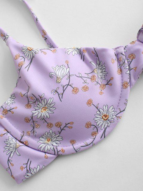 Costume da Bagno Bikini Floreale con Ferretto di ZAFUL - Viola chiaro M Mobile