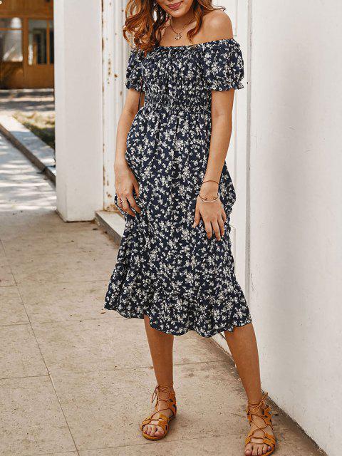 hot Off Shoulder Tiny Floral Tied Dress - DEEP BLUE M Mobile