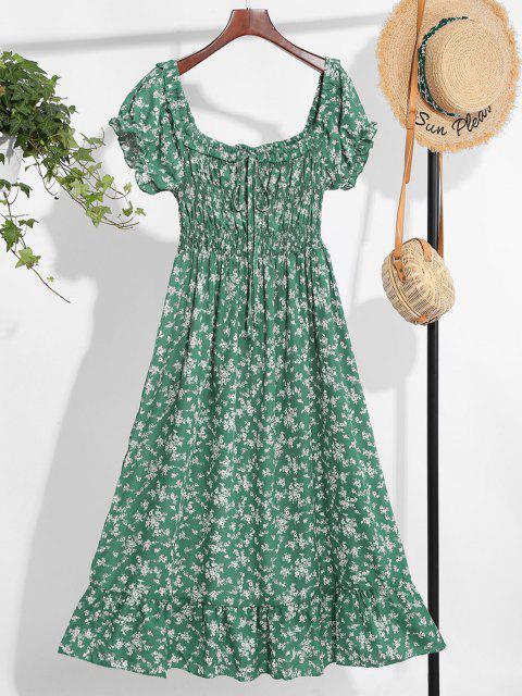 women Off Shoulder Tiny Floral Tied Dress - GREEN M Mobile