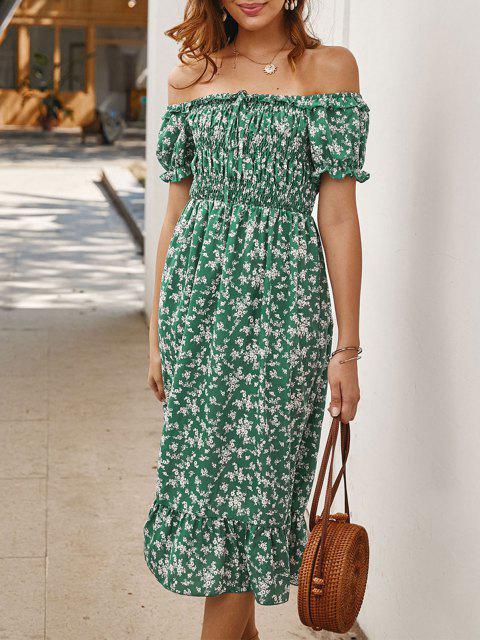 Robe Nouée Fleurie à Epaule Dénudée - Vert L Mobile
