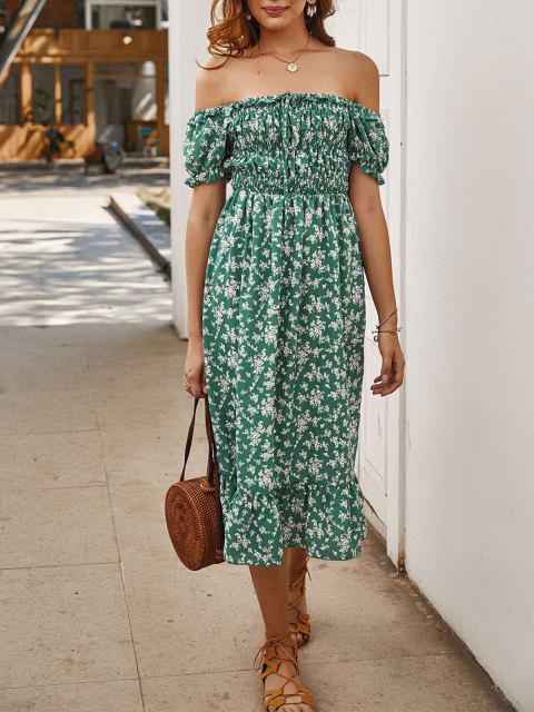 Robe Nouée Fleurie à Epaule Dénudée - Vert XL Mobile