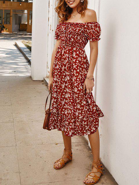 online Off Shoulder Tiny Floral Tied Dress - RED M Mobile