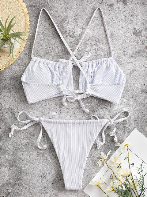 ZAFUL Maillot de Bain Bikini Court Croisé Noué Texturé Côtelé - Blanc S Mobile