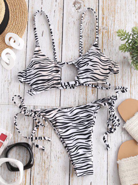 buy ZAFUL Dalmatian Snake Print Tie Cutout Bikini Swimsuit - LIGHT COFFEE S Mobile