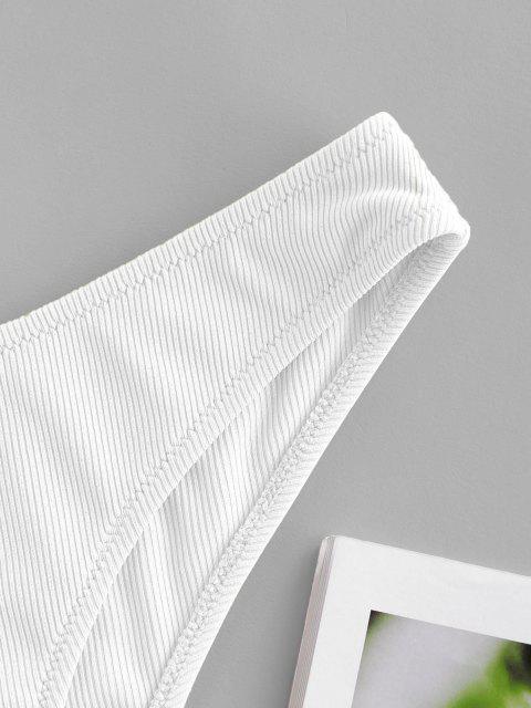 fancy ZAFUL Ribbed Low Rise Bikini Bottom - WHITE S Mobile