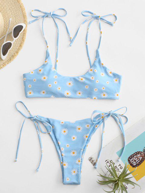 ZAFUL Gebundenes Gänseblümchendruck Bikini Badebekleidung - Hellblau S Mobile