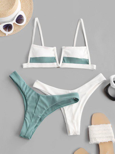 trendy ZAFUL Ribbed V-wired Two Tone Three Piece Swimsuit - LIGHT BLUE S Mobile