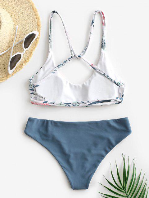 ZAFUL Bikini de Tiras con Estampado de Hojas - Azul M Mobile