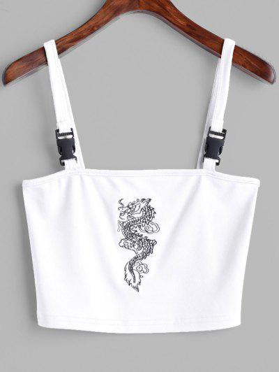 Dragon Embroidered Buckle Straps Tank Top - White S