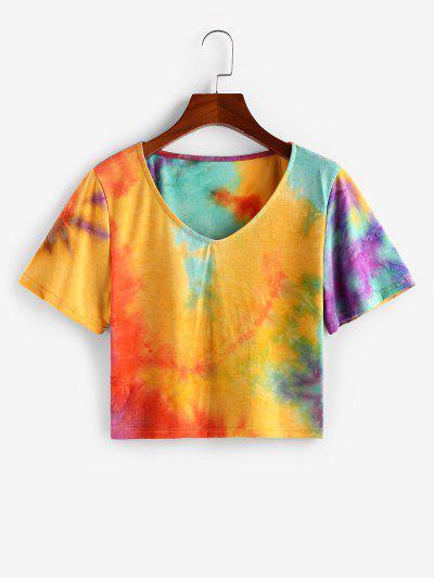 ZAFUL T-shirt Casual De Tingimento De Gravata Com Decote Em V - Profundo Amarelo L