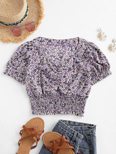 Smocked Waist Daisy Print Puff Sleeve Blouse - Purple S
