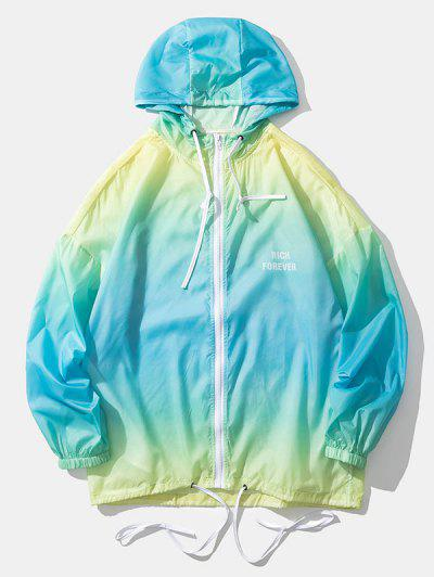 Ombre Rich Forever Lightweight Sunproof Hooded Jacket - Celeste Xl