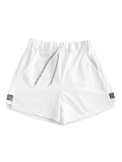 Letter Taped Drawstring Pocket Sweat Shorts