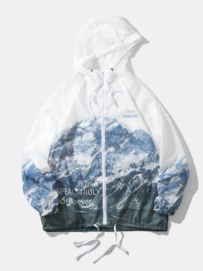 Snow Mountain Print Lightweight Sunproof Hooded Jacket - White M