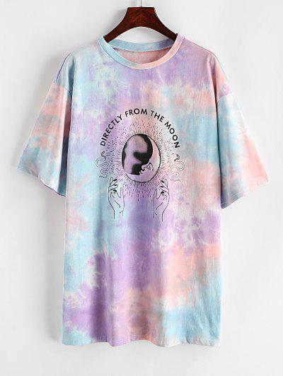 ZAFUL Tie Dye Letter Moon Snake Print T Shirt Dress - Light Purple S