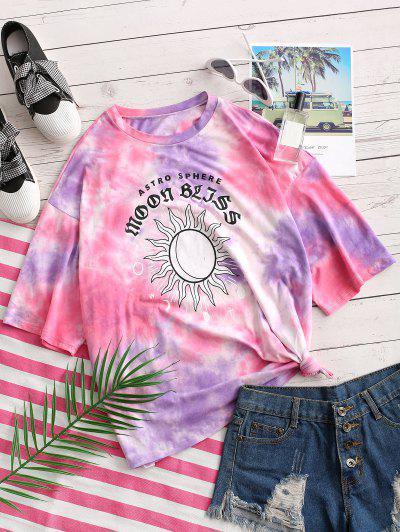 ZAFUL 100% Cotton Tie Dye Sun Graphic Boyfriend T-shirt, Light purple
