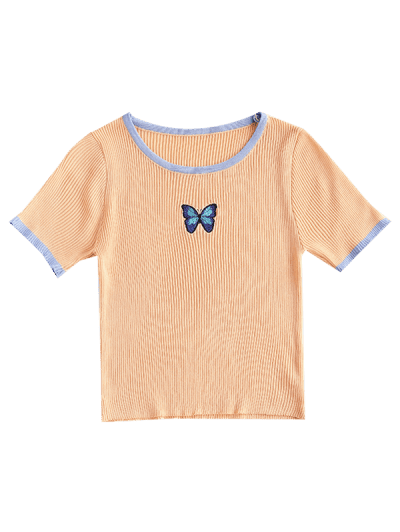 Butterfly Print Ribbed Knit Ringer Top