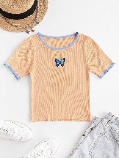 Butterfly Print Ribbed Knit Ringer Top - Light Coffee