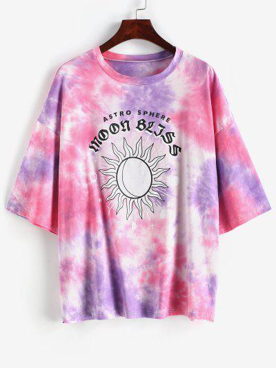 ZAFUL 100% Cotton Tie Dye Sun Graphic Boyfriend T-shirt - Light Purple S