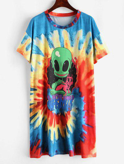 Spiral Tie Dye Alien Print Tee Dress - Multi M