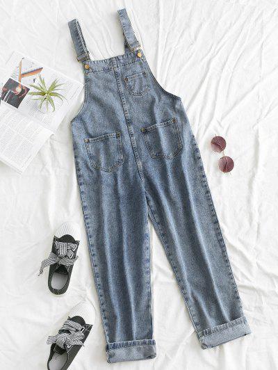 Front Pockets Denim Overalls - Blue M