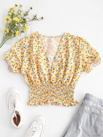 V Neck Bright Ditsy Floral Smocked Waist Blouse - Yellow S