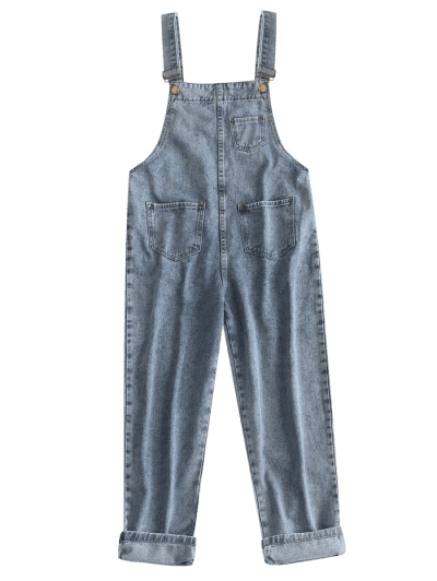Front Pockets Denim Overalls