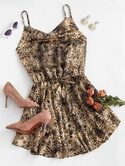 Cowl Front Tie Waist Leopard Cami Dress - Coffee S