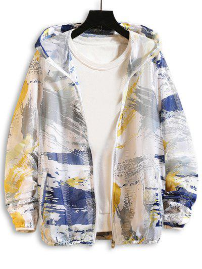 Paint Printed Sunproof Mesh Hooded Jacket - Yellow Xs