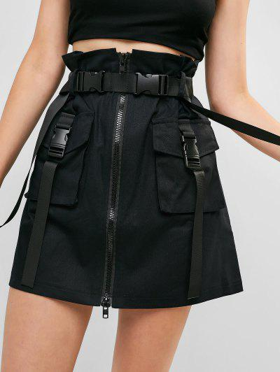 Zip Front Buckled Belted Cargo Skirt - Black S