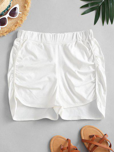 Ruched Dolphin Hem Casual Shorts - White