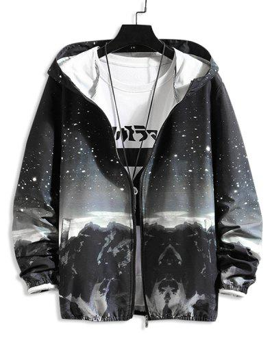 Mountain Landscape Paint Dots Print Sunproof Hooded Jacket - Black L