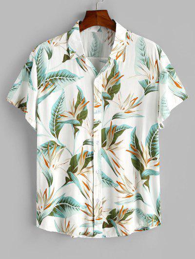 Flower Print Button Up Slim Hawaii Shirt - White L