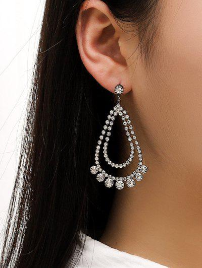 Rhinestone Water Drop Wedding Earrings - Silver