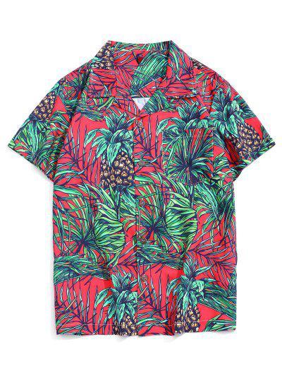 Vacation Tropical Leaf Print Pocket Patch Shirt - Multi-b Xs