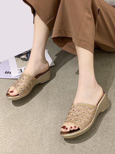 Mesh Rhinestone Wedge Slides Sandals - Golden Eu 38