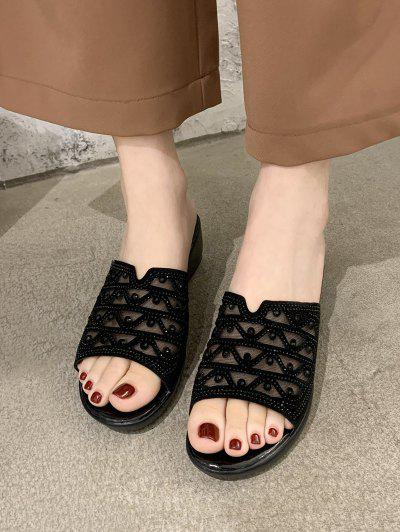 Mesh Rhinestone Wedge Slides Sandals - Black Eu 38