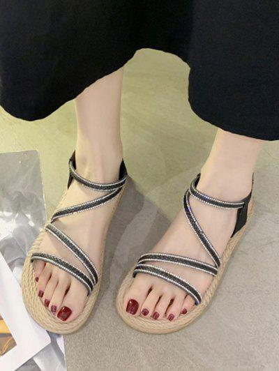 Open Toe Rhinestone Flat Sandals - Black Eu 39