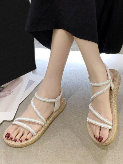 Open Toe Rhinestone Flat Sandals - White Eu 39