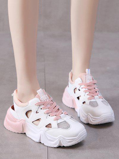Mesh Panel Hollow Sport Sandals - Light Pink Eu 39