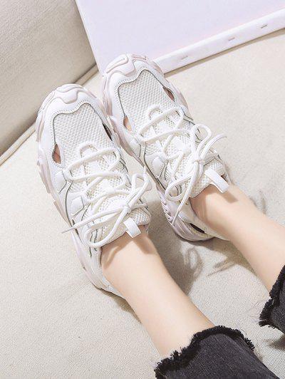 Patchwork Lace Up Sports Sandals - Beige Eu 40