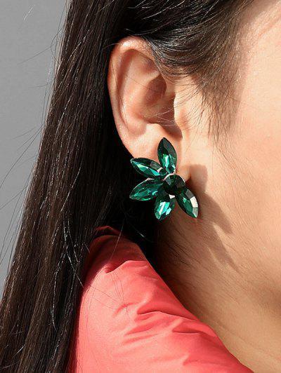 Pendientes De Cristal De Imitación De Pétalos De Flores - Verde De Mar Ligero