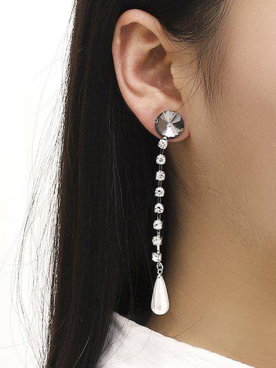 Rhinestone Alloy Long Dangle Earrings - Silver