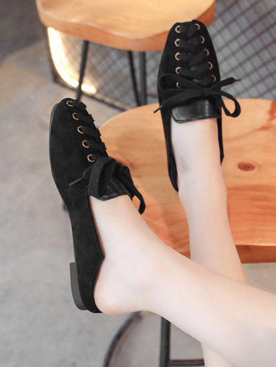 Lace Up Patchwork Leisure Shoes - Black Eu 38