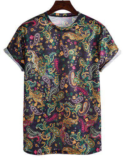 Paisley Print Rolled Sleeve Crew Neck T Shirt - Navy Blue Xl